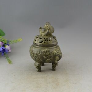 Chinese Folk Temple Copper Bronze Buddha Longevity Censer Incense Burner Statue
