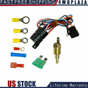 Electric Cooling Thermostat Fan Sensor Temperature Switch Wiring Relay Kit Usa