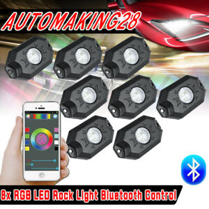 8x Pods Rgb Led Rock Light Offroad Wireless Bluetooth Controller Multicolor 2nd