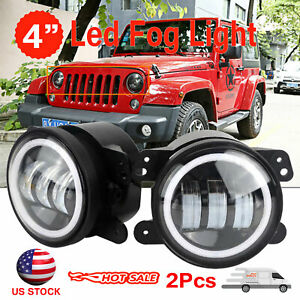 2pcs Round 4 30w Led Fog Light W Halo Angle Eyes Drl For 07 17 Jeep Wrangler