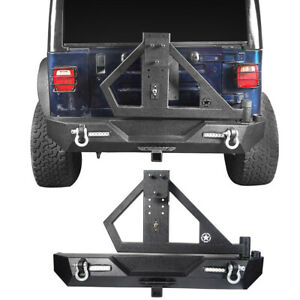 Textured Rear Bumper W Spare Tire Carrier D Rings For Jeep Wrangler Tj 97 06