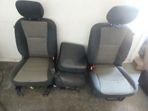09 12 Dodge 1500 2500 3500 Front Seat Center Console Black Grey Cloth Manual