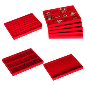 3pcs Ring Earring Necklace Jewelry Display Organizer Box Tray Holder Red