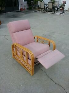 2 Mid Century Modern Rattan Recliner Chair Armchairs Rare Reclining Style Clean