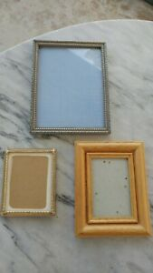 3 Vintage Wood Picture Frames Lot Nos Unused Small Size Great Styles And Look
