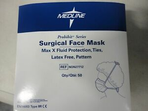 Case Of 300 Medline Surgical Face Mask Non27712 Max X Fluid Protection Ties