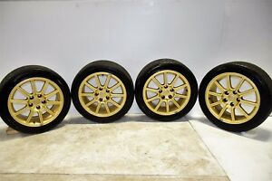 10 Spoke Enkei 17x8 53 Sti Wheels 5x114 Gold Rims 2005 2014 Impreza Sti Clean