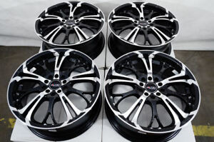 17 5x100 5x114 3 Black Wheels Fits Civic Eclipse Accord G35 Mazda 3 6 5 Lug Rims