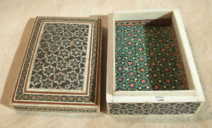 Antique Middle Eastern Micro Mosaic Khatam Marquetry Inlay Jewellery Box 4