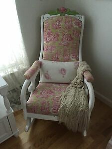 Vintage Antique Rocking Chair French Country Shabby Chic Style Waverly Fabric