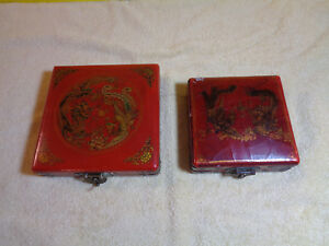 Antique Vintage Chinese Compasses In Wooden Cases