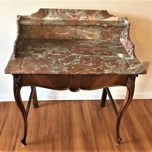 Antique French Desk Vanity Commode Louis Xv Style Rococo Rouge Red Brown Marble
