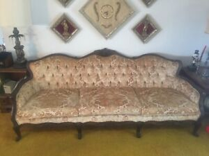 Victorian Sofa Carved Wood Frame