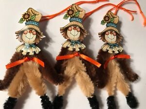 Chenille Thanksgiving Ornaments Vintage Scarecrow Feather Tree Ornaments Tags