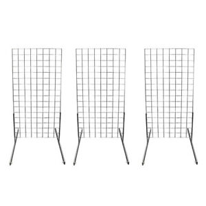 3 Chrome Gridwall Panel 4 Ft Tall Wire Grid Shelving Board T leg Retail Display