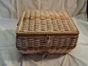 Antique Wicker Sewing Basket Plus Small Wicker Basket