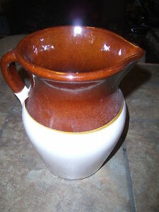 Vintage Brown Cream Stoneware Crock Water Or Milk Pitcher Gallon Euc