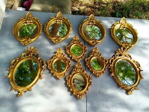 Vintage Florentia Mirrors Italy Gold Ornate Carved Wood Tole Lot Of 9 Picture