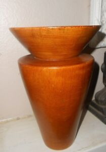 Vtg Vase Mid Century Atomic Hand Turned Wood 8 Modern Decor Art