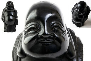 Japanese Natural Stone Obsidian Hotei Seven Lucky Gods Statue 6 1 2 6540