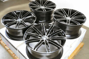 18x8 18x9 Black Staggered Wheels Fits Lexus Is200t Mustang G35 G37 Is350 Rims