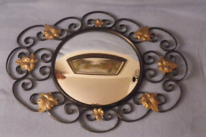 Quality Made Antique Gold Leaf Wall Mirror Round Oval With Leaves