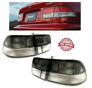 For 1996 2000 Honda Civic 2 Door Coupe Si Jdm Tail Lights Brake Lamp Smoke Clear