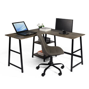 Office Modern L shaped Corner Computer Desk Writing Workstation Table Bookcase