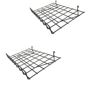 2 Pc Wire Grid Shelf Gloss Black Flat 24 X 15 With Lip Slatwall Pegboards