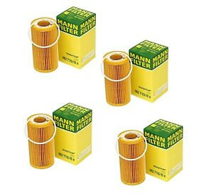 Set Of 4 Engine Oil Filters For Volvo C30 C70 S40 S60 V50 V60 Xc60 Xc70 Mann