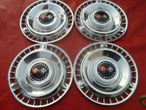 Vintage 1961 Chevy Impala Belair Biscayne Racing Flag Hubcaps Wheel Covers