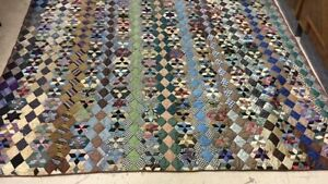 Antique Silk Velvet Diamond Hexagon Crazy Quilt 1875 Abraham Lincoln Cousin Aqs