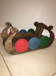 Viking Norway Scandinavian Solid Wood Sleigh Decorative Art Vtg Boat Carved Rare