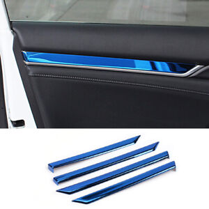 4pcs Blue Metal Car Inner Door Stripe Decoration Cover For Honda Civic 2016 2019
