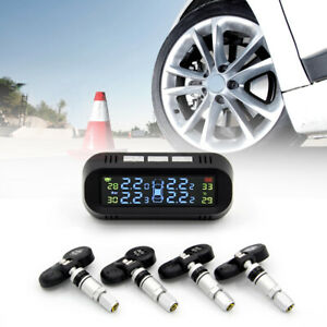 Solar Power Car Auto Tpms Tire Pressure Lcd Monitor System Wireless 4 Sensors Ch
