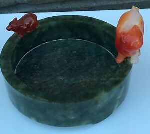 Chinese Spinach Jade Nephrite Carved Tray Bowl Dish Agate Cat Mouse