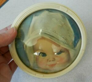 Vintage Circular Bubble Glass Picture Of Toddler