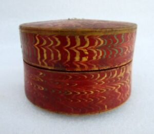 Antique Collectible Hand Carved Wooden Fine Lacquer Painted Beautiful Round Box