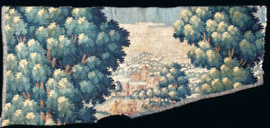 An Antique Verdure Tapestry Fragment With Man And Donkey