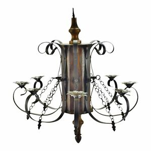 Vintage 8 Arm Wood And Iron Chandelier