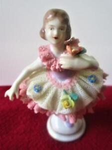 Mini Dresden Germany Child Dancing Ballerina Figurine Pink Lace Flowers 4