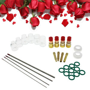 30pcs Welding Stubby Gas Lens Pyrex Cup Kit Replaces For Tig Wp 17 18 26 Torch