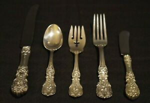Francis I Reed Barton Sterling Silver Flatware Set Old Mark 5 Pc No Monogram