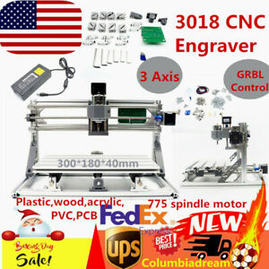 Diy 3 Axis Cnc 3018 Router Kit Engraving Milling Machine Grbl Control Wrench