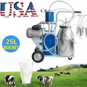 Milker Electric Piston Vacuum Pump Milking Machine For Farm Cows Bucket 25l Usa