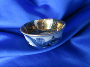 Vtg Japanese Sake Cup Signed Gold Green White Cranes Inside Blue White Outside