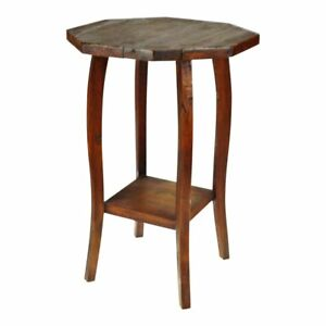 Antique Wood Octagonal Two Tier Plant Stand