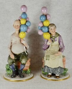 Porcelain Capodimonte Man And Woman With Balloons 1970 Pucci 10 Tall