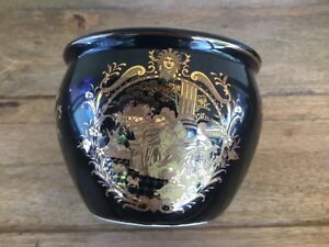 Vintage Satsuma Fish Bowl Planter Black With Ornate Gold Accenting