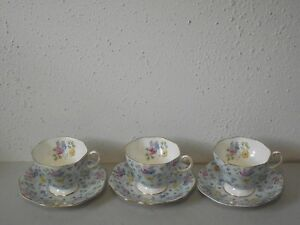 Vtg Foley Bone China 1850 Teacups Saucers Set Blue Pink Yellow Floral Flower M